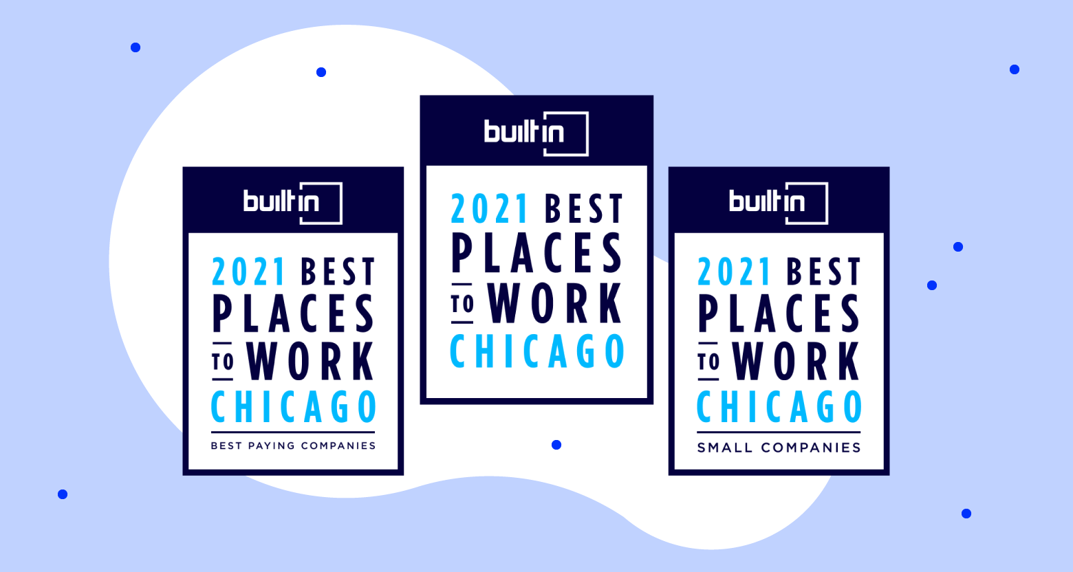 Built In Badges for Best Places to Work, Best Small Companies to Work for, Best Paying Companies